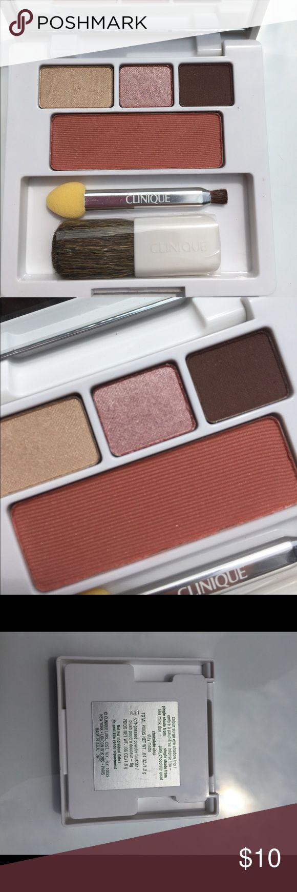 """Makeup Clinique eyeshadow trio and blush •ORIGINALLY $21.90!  • *I WILL DO MY BEST TO PACK THIS ITEM. Hopefully the pressed powders don't shatter please don't give me a bad rating if it does break, I will help to get a refund from Poshmark. •Product Name: Clinique Color Surge Eyeshadow Trio in """"Like Mink"""" """"Pink Chocolate"""" """"Chocolate Chip"""" and """"Soft Pressed Powder Blusher"""" •Comes with mirror, two different eyeshadow brushes, and a blush brush. •Brand new and never swatched.  • About 3 x 3…"""