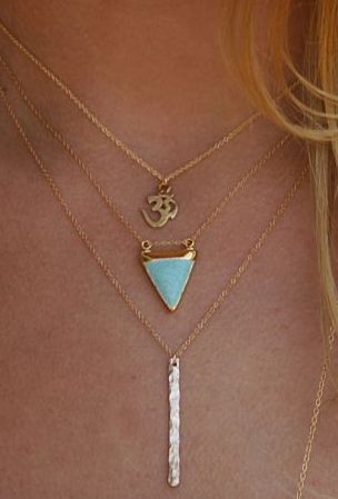 om + turquoise + bar necklaces. Sub out the om for me but like the general look