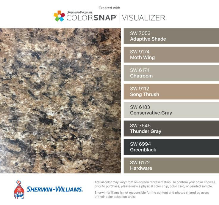I found these colors with ColorSnap® Visualizer for iPhone by Sherwin-Williams: Adaptive Shade (SW 7053), Moth Wing (SW 9174), Chatroom (SW 6171), Song Thrush (SW 9112), Conservative Gray (SW 6183), Thunder Gray (SW 7645), Greenblack (SW 6994), Hardware (SW 6172).