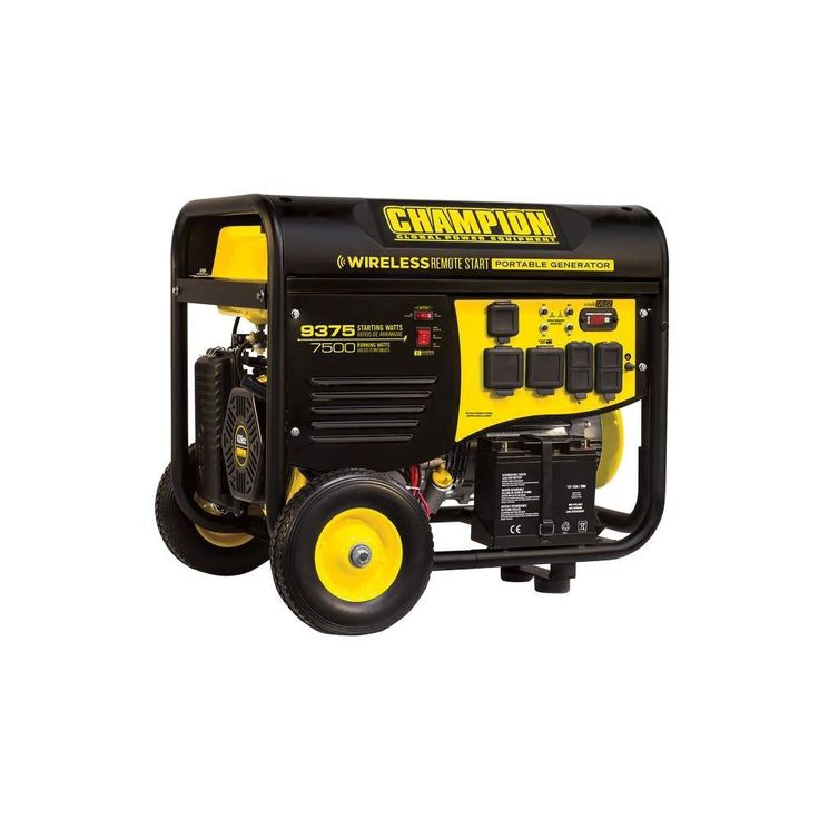 7500watt gasoline powered wireless remote start portable generator with champion 439cc engine