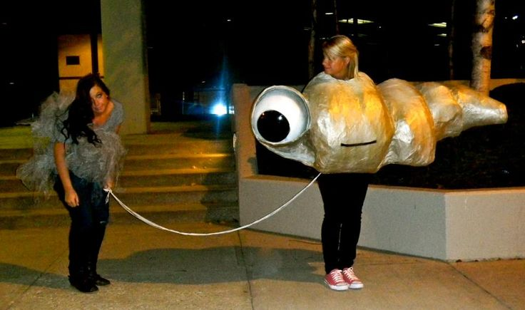 Marcel the Shell with shoes on and Allen. My favorite homemade Halloween costume of all time.