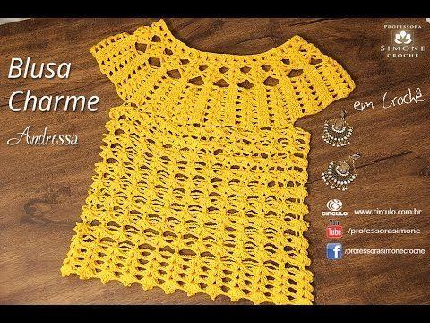 Passo a passo Blusa de Crochê Charme - Professora Simone - YouTube