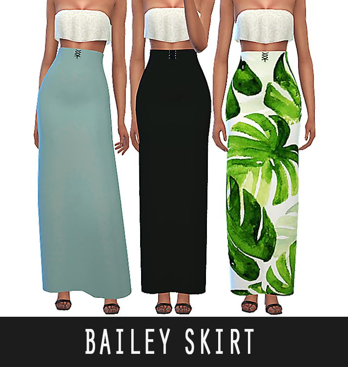 """BAILEY SKIRT""""A high waisted lace-up skirt with summery colors & patterns"""" • 15 swatches • High Poly • Has Morphs • HQ Compatible DOWNLOAD [  ]"""
