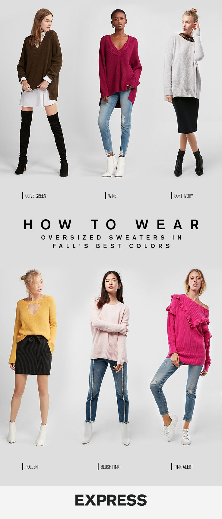 Nail casual winter style with these 6 oversized sweaters in fall's hottest hues. Mix up your black and gray go-tos with fuchsia, mustard, burgundy or cream sweaters. The best part, all of them pair with everything in your closet, from skirts to jeans.