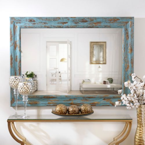 Distressed Turquoise & Gold Mirror, 31x43 in. | Kirklands