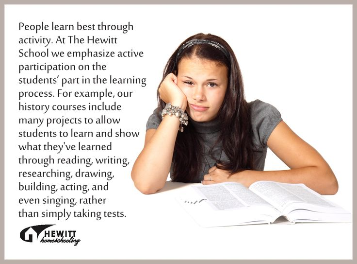 People learn best through activity. At The Hewitt School we emphasize active participation on the students' part in the learning process. For example, our history courses include many projects to allow students to learn and show what they've learned through reading, writing, researching, drawing, building, acting, and even singing, rather than simply taking tests. HewittHS.com