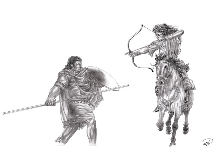 Corinna and Yakane sparring sketch: Training Horse Archery vs Opponent on Foot