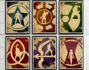 Superheroes Avengers Minimalist Movie Poster Set 4 by moonposter