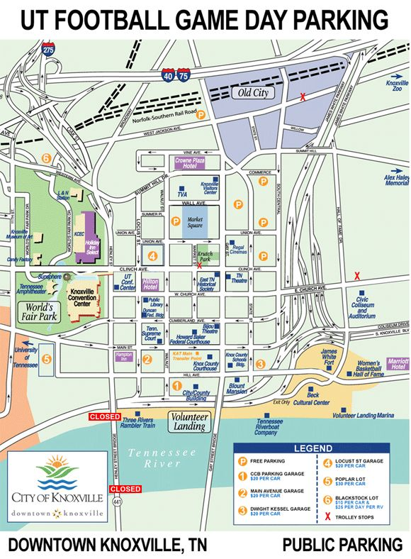 Map of Parking for UT Football Game Day