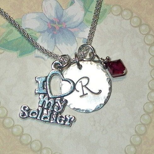 Military Gifts, I love my Soldier Hand Stamped Sterling Silver Initial Charm Necklace - Personalized Military Necklace, Military Jewelry by #DolphinMoonCreations on Etsy #armywife #armymom #lovemysoldier