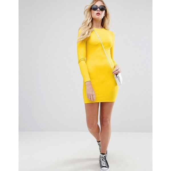ASOS Mini Bodycon Dress in Rib with Long Sleeves ($24) ❤ liked on Polyvore featuring dresses, yellow, long sleeve mini dress, body con dresses, mini dress, yellow prom dresses and bodycon dress