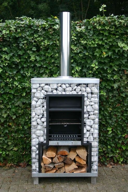 Gabion outdoor stove/grill ... Love this, would be easy enough to make similar. Its finding all the bits though