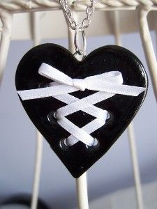 Small black clay corset heart necklace with white ribbon. <3