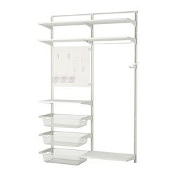 IKEA - ALGOT / SKÅDIS, Wandschiene/Böden/Stange, Die Teile der ALGOT Serie lassen sich vielseitig kombinieren und können so dem Bedarf und dem vorhandenen Platz angepasst werden.Wandschienen sind die Basis der ALGOT Aufbewahrung. Einfach Konsolen, Böden und andere Einrichtungsteile einhängen, wo gewünscht. Kein Werkzeug nötig.Mit der Montageschiene lässen sich ALGOT Wandschienen gerade und in perfekten Abstand anbringen.Auch für Badezimmer und andere Feuchträume im Haus geeigne...