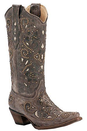 Bridesmaid boots for MiKael!? Corral Ladies Distressed Brown w/ Bone Inlay