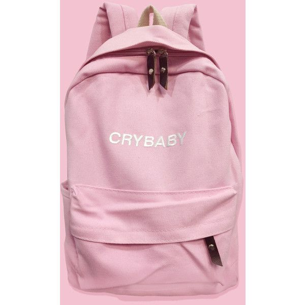 CRYBABY-Tumblr-Aesthetic backpack ($30) ❤ liked on Polyvore featuring bags, backpacks, knapsack bags, embroidered bags, embroidered backpacks, day pack backpack and backpacks bags