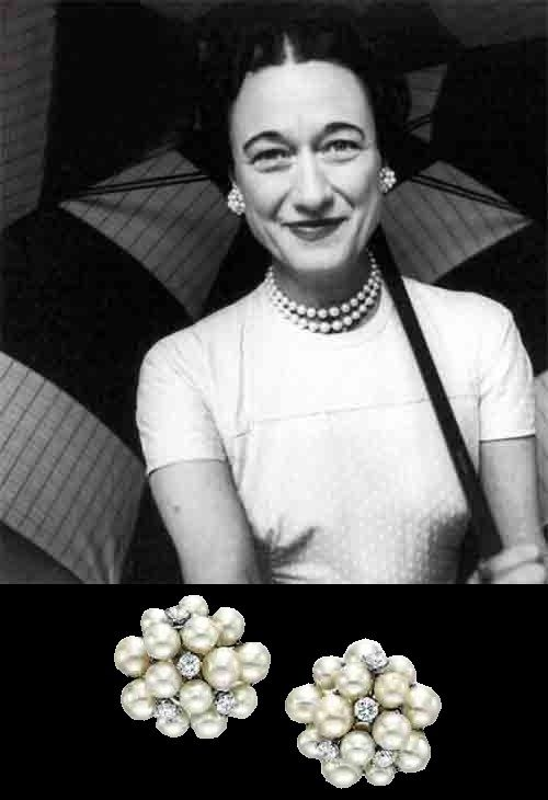 Wallis Simpson, Duchess of Windsor in Seaman Schepps jewelry - earrings with pearls