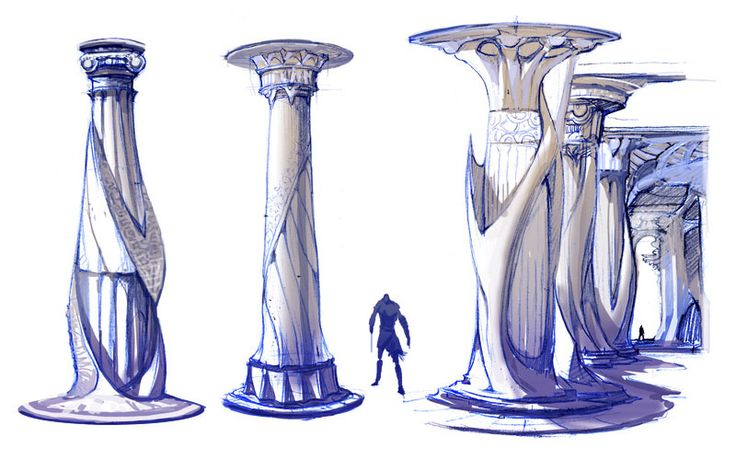 Atlantis Column Designs - Characters & Art - God of War II