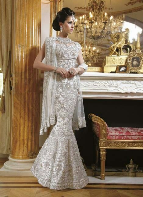 East Meets West White Wedding Lengha South Asian Inspiration Pinterest Dresses And
