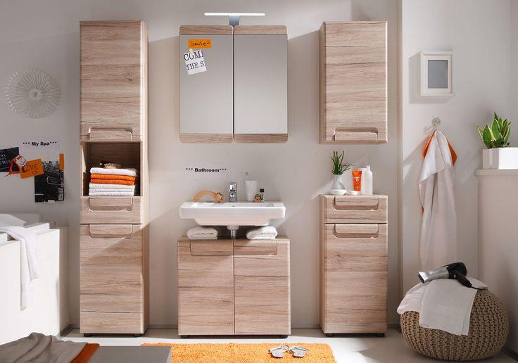 Badezimmer MALEA in der Ausführung Eiche San Remo hell Nachbildung und Tiefziehfolie. #trendteam #smartliving #badezimmer #bathroom #möbel #furniture