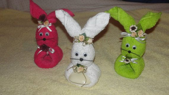Handmade Bunny Soap Holder. Made with towels and flowers.    A cute place to store your soaps. Available in several colors.