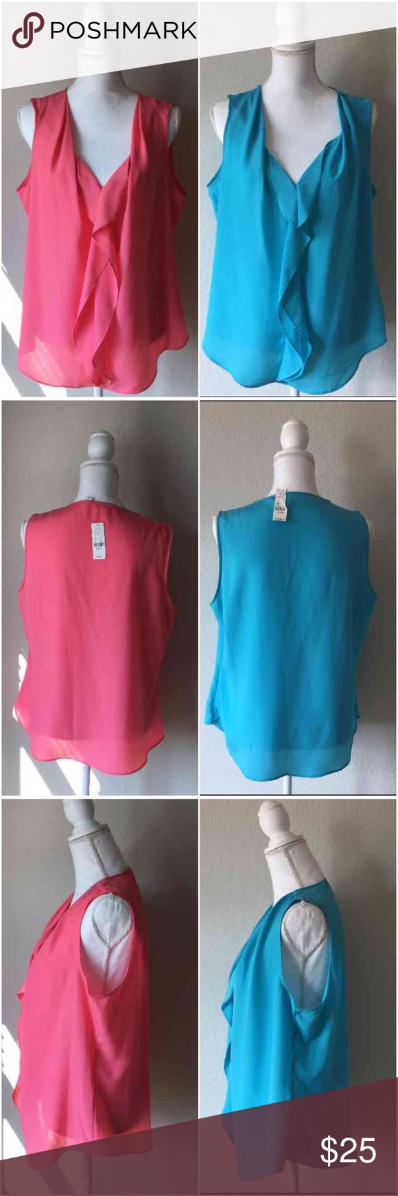 **Bundle Deal NWT NY&CO Sleeveless Blouses 100% Polyester Both XL very cute ruffle blouses. Both are the same exact Blouse NWT just in different colors. They would look super cute with a sweater. One is a sky blue and the other a coral color. New York & Company Tops Blouses