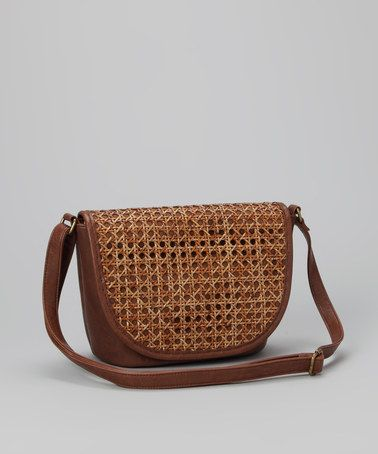Take a look at this Brown Circle-Weave Crossbody Bag by Straw Studios on #zulily today!