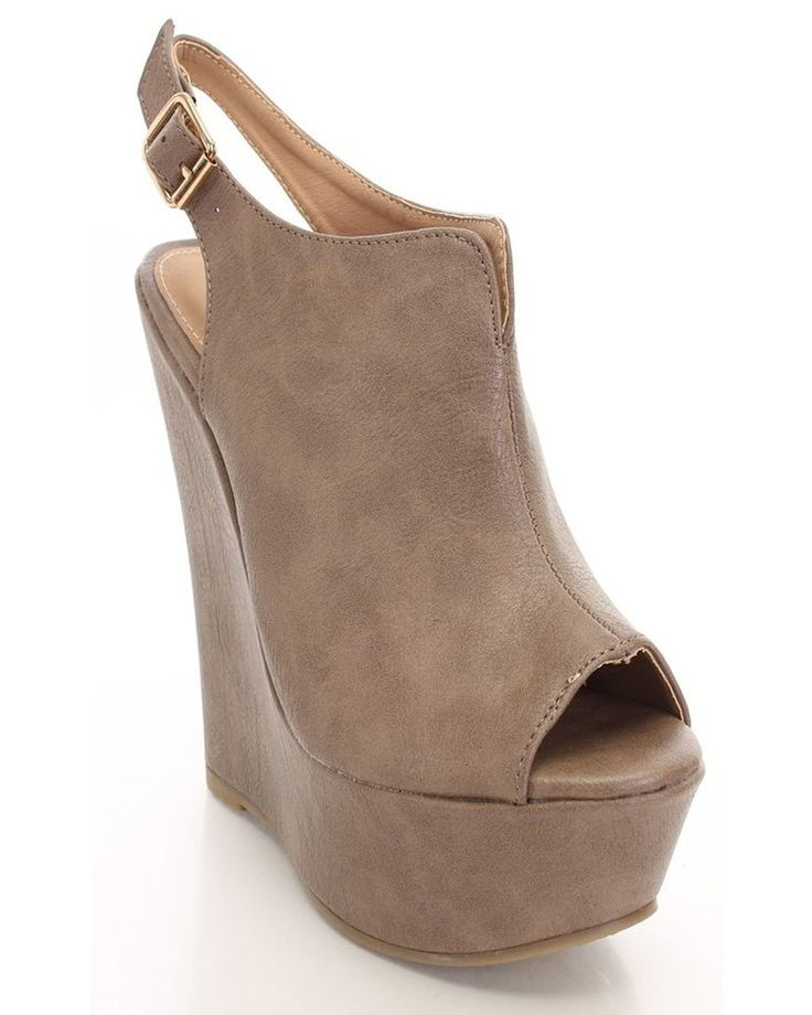 Taupe Faux Leather Peep Toe Platform Wedges