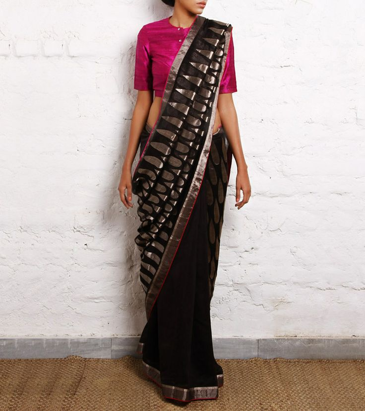 Tilak Black Chanderi Handwoven Saree #black #gold #pink