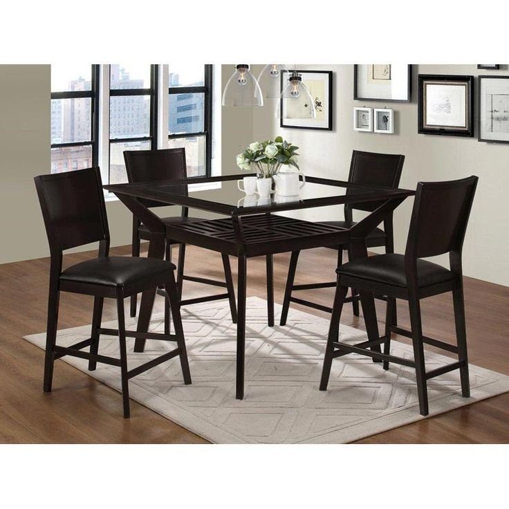 ... Weekends Only Furniture And Mattress. See More. This Espresso Brown  Counter Height Dining Set Looks Sharp With A Tempered Glass Insert On Top