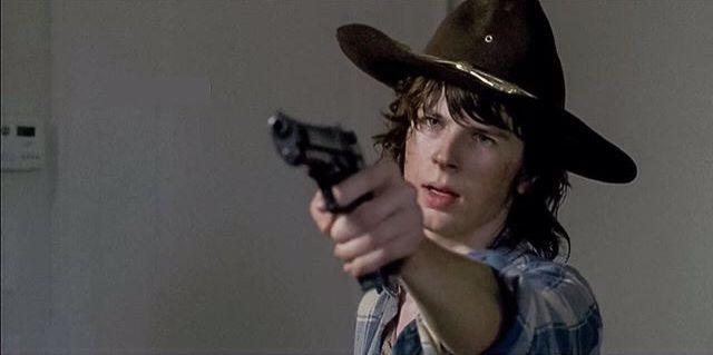 Chandler Riggs as Carl Grimes in The Walking Dead, Season 6.....my friend was like ' lil Carl is all grown up '