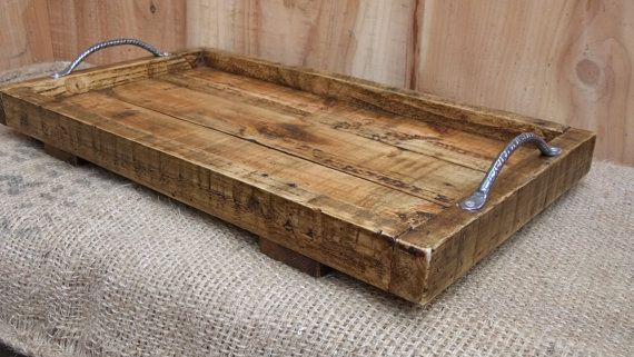 Large Rustic Serving Tray / Wooden Tray  Made by NewPurposeDesign