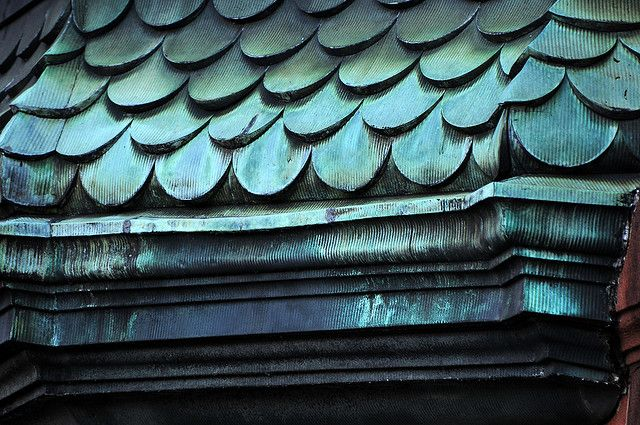 oxidized copper roofing