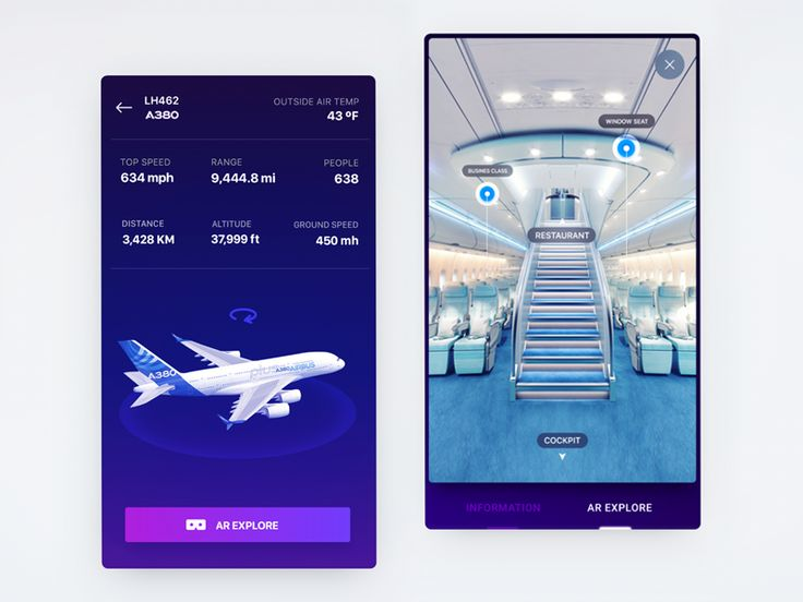 Airbus AR interface design exploration for ifly a380 iOS app