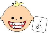 Baby Teeth Math Fun--Will probably remake as a game, using +, -, and x fact cards (though I might use the number cards for Evie)