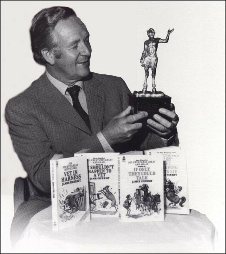 James Herriot with one of his six Golden PAN Awards #All_Creatures_Great_And_Small #James_Herriot North #Yorkshire