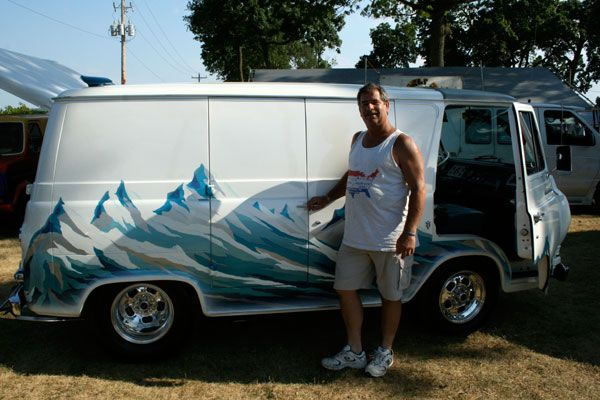 """Gary Larkin, proprietor of a bottled-water business in Pittsburgh, likes to joke that this mountain-themed beauty is his company car. Better known as the Alpine Express, Larkin's """"delivery van"""" took four years to build and has won numerous awards for its glittering paint job and mountain-spring-inspired interior decoration."""
