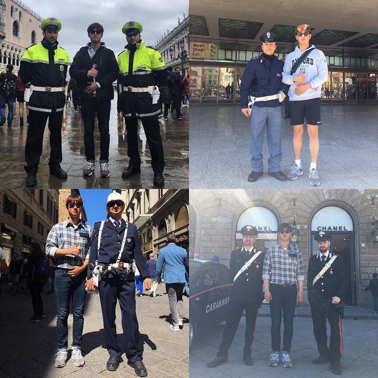 9개국 경찰과 사진찍기 . #europe #italy #italia #venezia #venice #firenze #florence #police #travel #daily #trip #유럽 #이탈리아 #베네치아 #베니스 #피렌체 #플로렌스 #경찰 #경시생 #일상 #여행 25일째 by 0_hooony