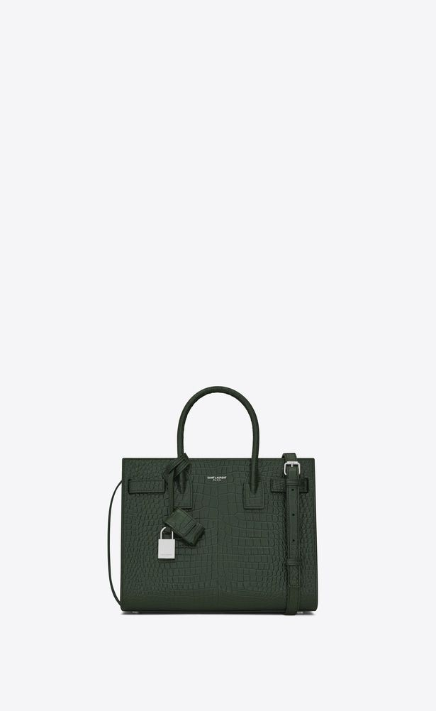 ee5932b0f49b SAINT LAURENT Baby Sac de Jour Woman baby sac de jour bag in dark green  crocodile embossed shiny leather a V4