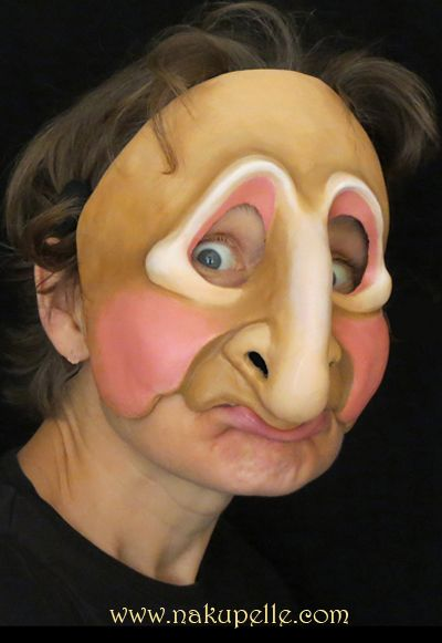 Commedia mask made by nakupelle. A more contemporary commedia mask based on a clown / commedia zanni influenced by larval masks. Artist: Joe Dieffenbacher.