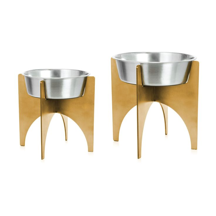 Nothing works up an appetite like good design. Fortunately for your pets, we have the Heavy pet dish. Feed your fur babies in style with this beautiful mix of stainless and brass finishes Made to work with any decor, your home will be the envy of every pet of the neighborhood. Feeding humans? You're on your own.  Pet dish, brass, mid-century modern, modern, pet bowl, brutalist,