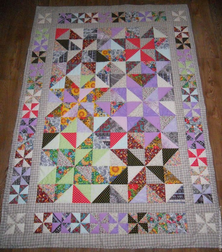 """Купить Лоскутное покрывало, одеяло """"Лоскутная мозаика"""" (вариант1), 143х203 см - лоскутное одеяло"""