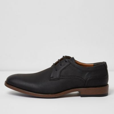River Island Mens Black embossed formal shoes