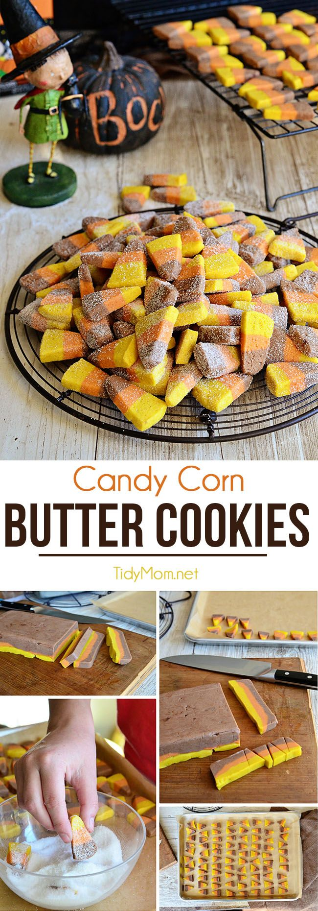 These candy corn shaped cookies come together in a flash…. no rolling or cookie…