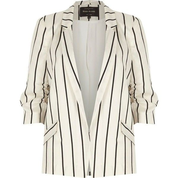 River Island White stripe ruched sleeve blazer (6.185 RUB) ❤ liked on Polyvore featuring outerwear, jackets, blazers, blazer, white, coats / jackets, women, white striped blazer, 3/4 sleeve jacket and tall jackets
