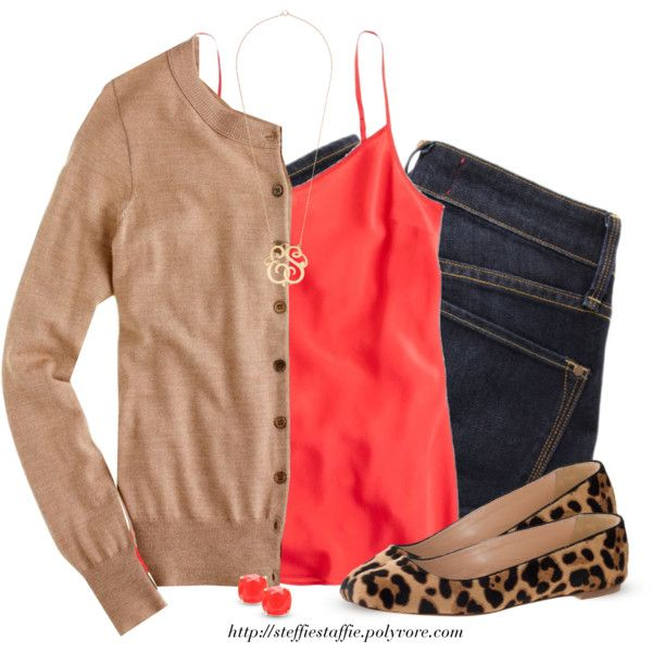 """Camel, Bright Red & Leopard"" by steffiestaffie on Polyvore"