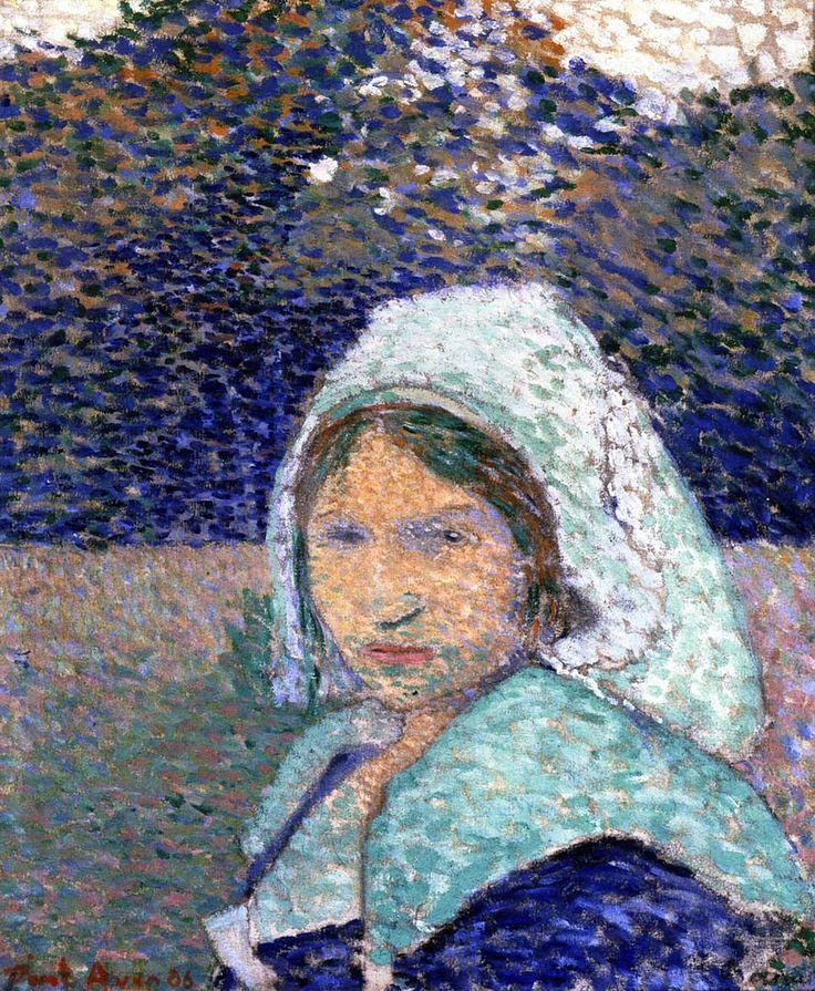 BERNARD Emile,1886 - Jeune Bretonne à Pont-Aven -   GAUGUIN à Emile BERNARD en 1888 : « Vous êtes extraordinairement doué et vous seriez arrivé quand même mais à une autre époque c'est-à-dire il y a 10 ans, vous n'auriez pas trouvé un seul pour vous admirer et vous regarder. Donc tant mieux pour vous. » (Arles, novembre 1888, Correspondance)