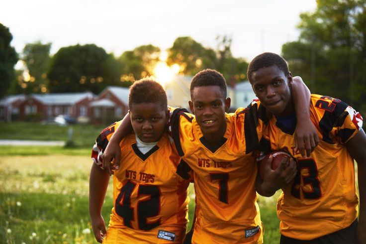 Members of the MTS Terps Pee Wee Football League in Baltimore, 2015. #refinery29 http://www.refinery29.com/2015/09/93709/danielle-levitt-youth-culture-photography-series#slide-30