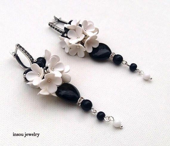 Black White Earrings Flower Earrings Wedding Jewelry Dangle