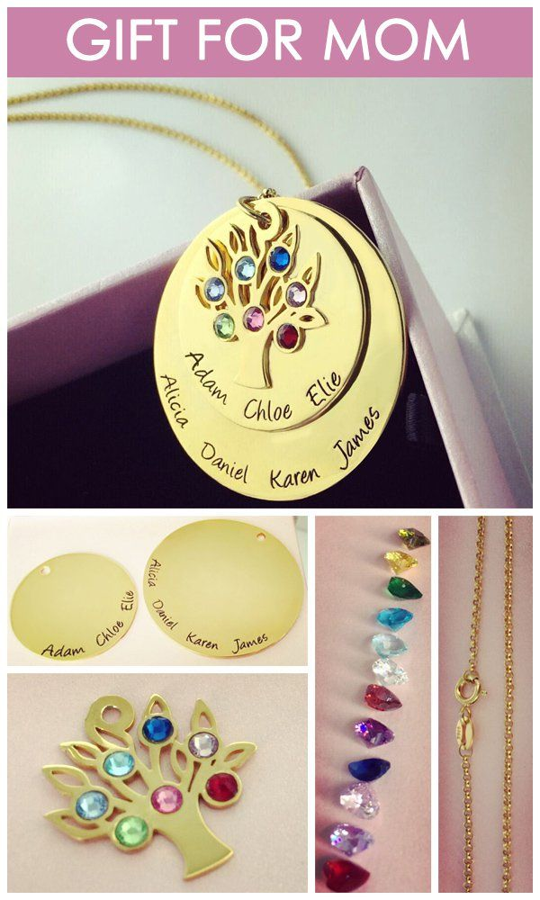 Perfect Gift For Mom Part - 27: Personalized Disc Family Tree Necklace With Birthstones In Gold